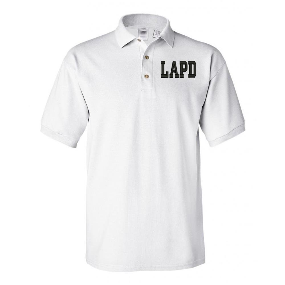Military LAPD Los Angeles Police Dept Poloシャツホワイト B07DBDMLV6  Medium with your name Embroidered