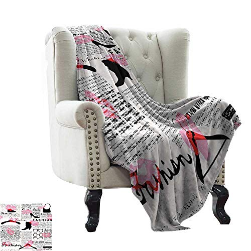 BelleAckerman Flannel Throw Blanket Old Newspaper Decor,Fashion Elements Kisses Lipstick Glasses Shoes Hangers,Scarlet Baby Pink Black for Bed & Couch Sofa Easy Care 60