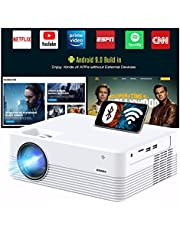 """$118 » JEEMAK Smart Projector, Android WiFi Bluetooth Projector, Mini Portable Wireless Projector, 5000 Lux, LED Video Projector for Smart Phone, HD 1080P Supported and 170"""" Display, Outdoor Movie Projector"""