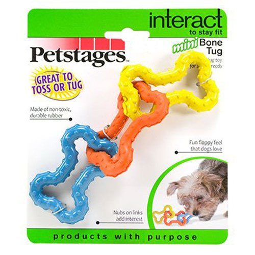 Petstages Tug-o-War Rubber Chew and Fetch Toy for Small Dogs, Dog Tug Toy ()