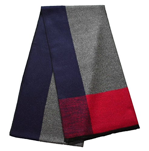 CHTIE Brushed Warm Soft Cashmere Feel Grey Navy Frame Men's Scarf Cold Winter Extra Long Size -