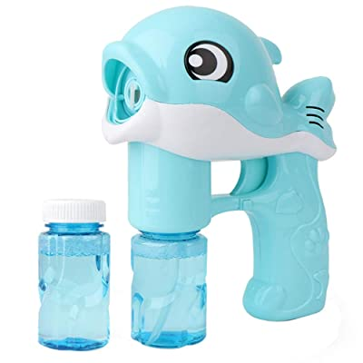 Midress Bubble Gun Blower for Kids Automatic Bubble Machine Cute Cartoon Bubble Maker Machine Summer Bathing Toy Outdoor with Lights and Music 7.6x5.8x3.2 inch (Blue): Sports & Outdoors