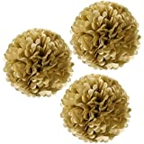 "Wrapables 12"" Set of 3 Tissue Pom Poms Party Decorations for Weddings, Birthday Parties Baby Showers and Nursery Décor, Gold Metallic"
