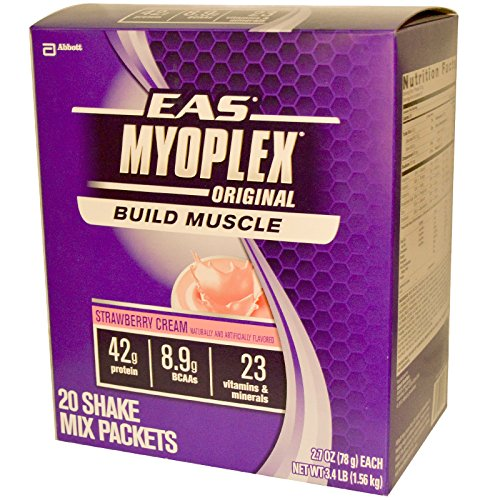 Myoplex Original 20 Strawberry - EAS, MyoPlex, Original, Shake Mix, Strawberry Cream, 20 Packets, 2.7 oz (78 g) Each - 2pc