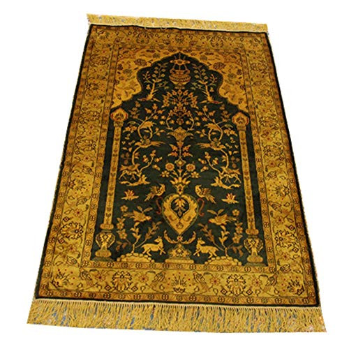 YILONG CARPET 2.5x4ft Handmade Silk Persian Carpet Hand Knotted Chinese Rug Small Oriental Rug Traditional Style Area Rugs Carpet Silk Carpet Rugs for Bedroom Kids Room House Villa (Green Golden)