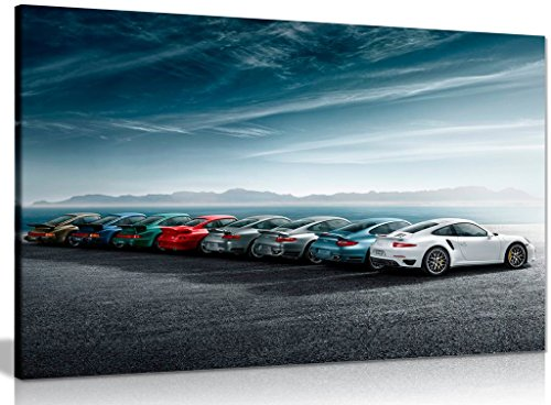 Porsche 911 Turbo History Lineage Canvas Wall Art Picture Print (24x16in)