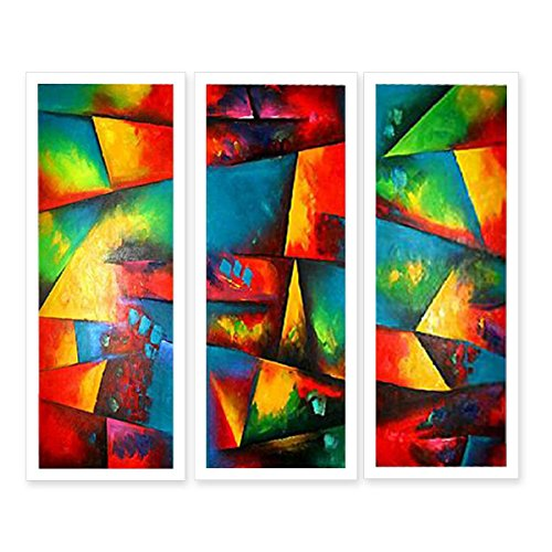 Neron Art Hand Painted Split Canvas Paintings Abstract 3 Pieces - 36X36 inch (91X91 cm) Rolled Unmounted for Living Room Wall Decoration - Reigate Banstead