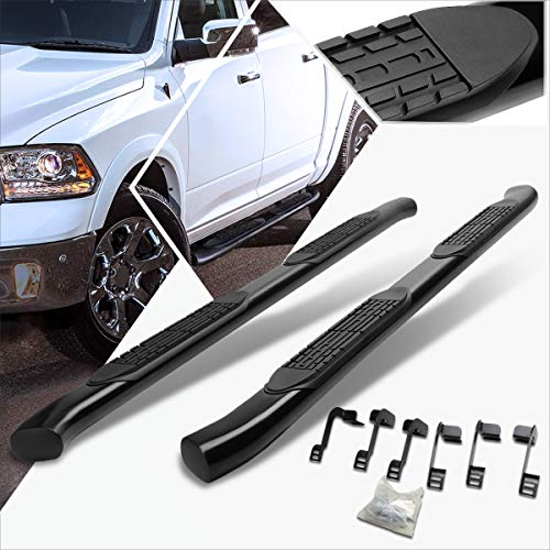 4 Inches Black Curved Running Board Side Step Nerf Bar Compatible with Dodge Ram Quad Cab 09-16