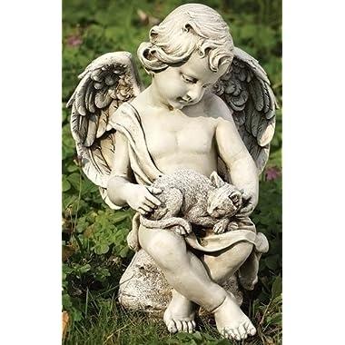 Joseph Studio 12  Cherub Angel with Kitten Cat Outdoor Garden Figure
