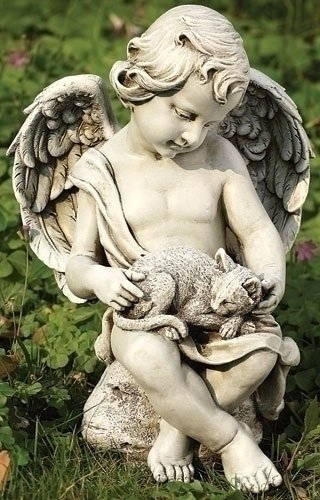 "Joseph Studio 12"" Cherub Angel with Kitten Cat Outdoor Garden Figure"