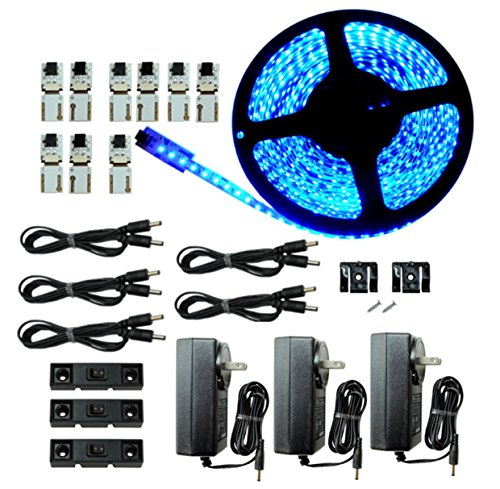 LED Lighting | Cut and Connect Series Kit: Ultra Bright | Blue | 39.5ft/ 12M Kit Under Cabinet lighting | Accent Lighting | Dimmable | Customizable length with adhesive LED Strip (Blues Lighting Series)