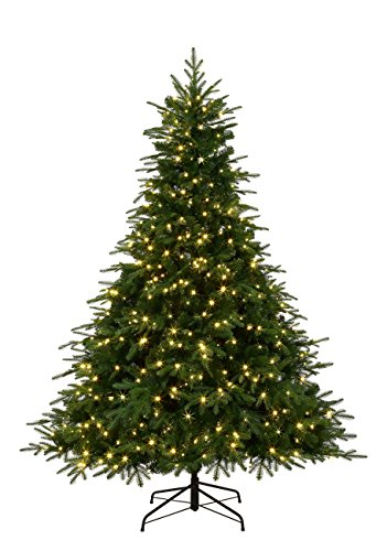 ABUSA Prelit Chirstmas Tree 7.5 ft PE Artificial Pine Xmas Tree with 750 LED 2242 Branch Tips - Real Feel