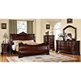 Bellefonte Baroque Style Brown Cherry Finish Eastern King Size 6-Piece Bedroom Set
