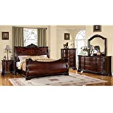 247SHOPATHOME IDF-7277CK-6PC Bedroom-Furniture-Sets, California King, Cherry