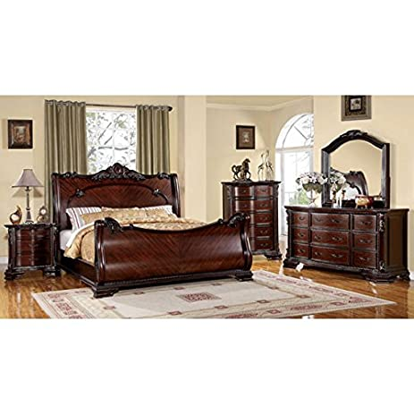 Amazon.com: Bellefonte Baroque Style Brown Cherry Finish Queen ...