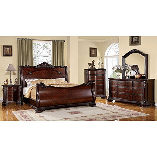 Bellefonte Baroque Style Brown Cherry Finish Cal King Size 6-Piece Bedroom (Cal King Bedroom Furniture)