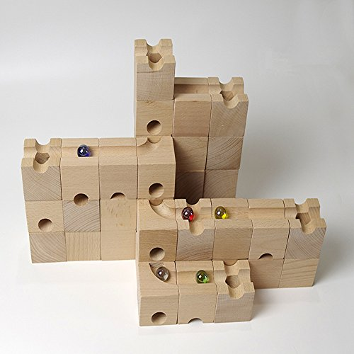 Ball Track Basic Set 30 Piece Wooden Marble Run European Made Puzzle Blocks by DUOLAIMENG (Image #2)