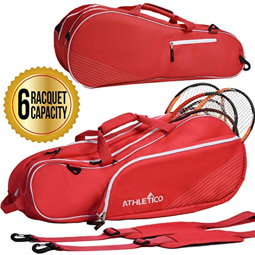 Athletico 6 Racquet Tennis Bag | Padded to Protect Rackets & Lightweight | Professional or Beginner Tennis Players | Unisex Design for Men, Women, Youth and Adults (Red)