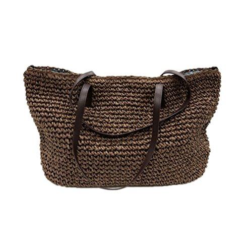 Bags Linen Weave Bucket Summer Women Beach Rattan Hobos Casual Straw Woven Grass Kimiyar Handbags Coffee Durable Tote Dark Hq6wRx88Y