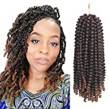 Eerya 3 Packs Spring Twist Crochet Hair Extension Spring Twist Hair Kanekalon Synthetic Braiding Hair Ombre Color Short Afro Kinky Curly Hair Weave (1B/30#)