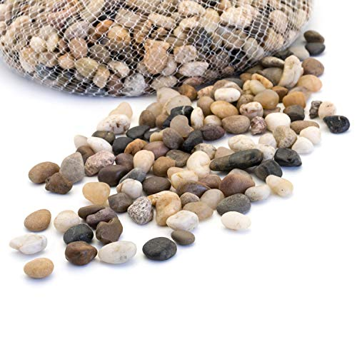 (Royal Imports 5lb Small Decorative Ornamental River Pebbles Rocks for Fresh Water Fish Animal Plant Aquariums, Landscaping, Home Decor etc. with Netted Bag, Natural)