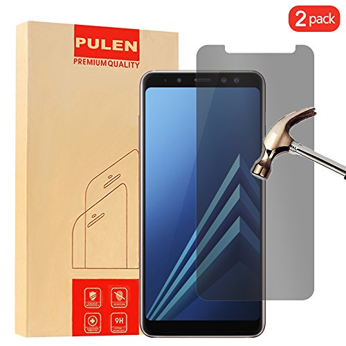 [2-Pack] Samsung Galaxy A8 2018 Screen Protector Tempered Glass, PULEN [Self-Adhesive] [Privacy Protection] [Scratch Resistance][Anti-Fingerprint] [No-Bubble] Clear Privacy Protector Film