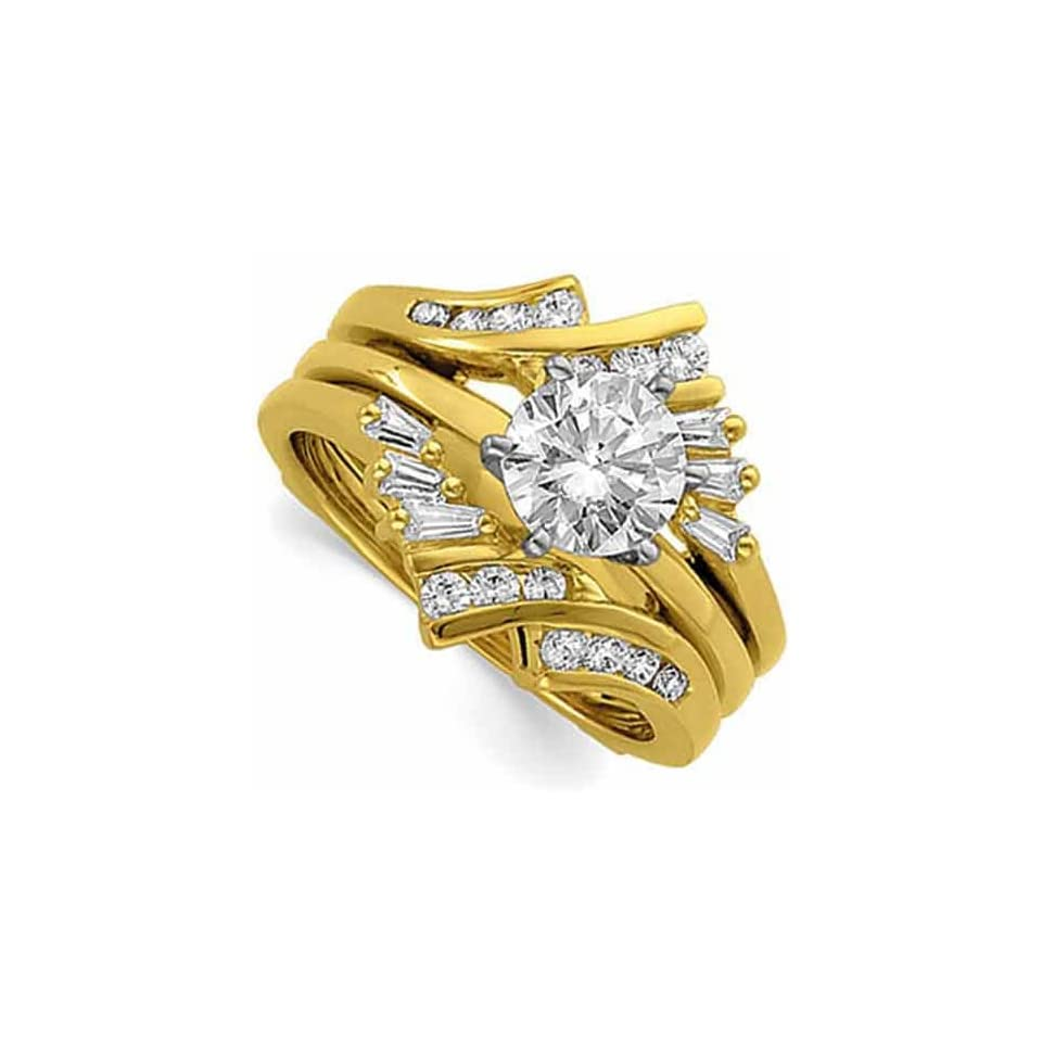 14Kt Yellow Gold Diamond Ring Guard Enhancer (Center ring is not included)