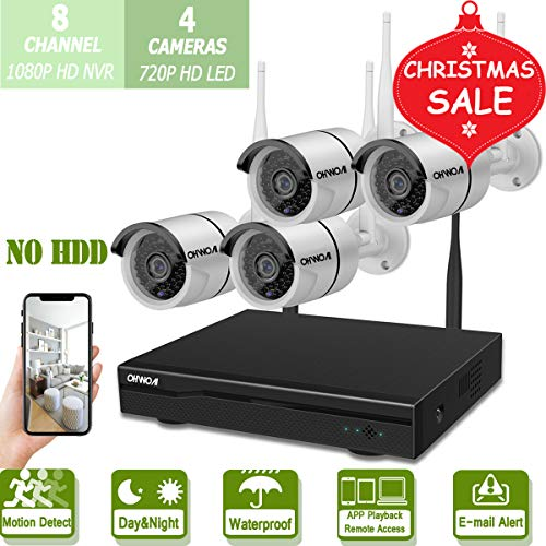 Wireless 8-Channel 1080P Security Camera System with 4pcs 720P Full HD Cameras,Home CCTV Surveillance System,Indoors&Outdoors IP Cameras+8CH House WiFi NVR Recorder,No Hard Disk Drive.