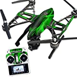 MightySkins Protective Vinyl Skin Decal for Yuneec Q500 & Q500+ Quadcopter Drone wrap cover sticker skins Green Flames