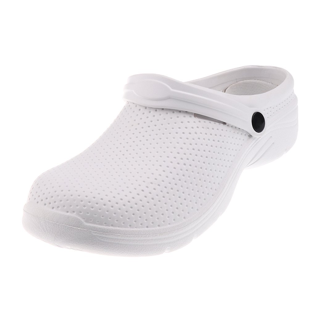 Fityle Mens Women Chef Cook Medical Nurse Shoes Ultralite Clogs Slip On Black/White