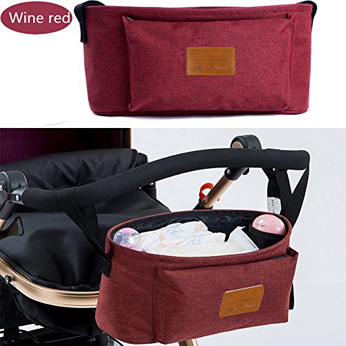 New linen Oxford portable baby stroller accessories hanging basket storage bag (Wine red)