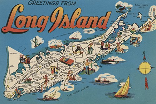 Greetings From Long Island, New York View - Vintage Halftone (12x18 Art Print, Wall Decor Travel Poster)