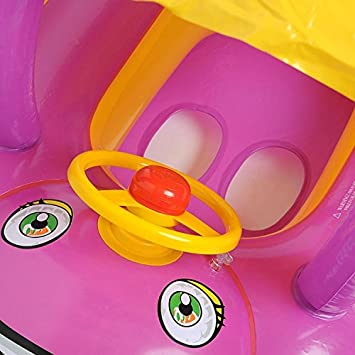 HmiL-U Baby Water Floats Toys with Inflatable Canopy Sunshade Swimming Pool Boat for Age of 6-36 Months Old Baby Blue car
