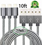 Abloom 3Pack 10ft Lightning Cable Nylon Braided Charging Cable Extra Long USB Cord for iphone 7,7 plus iphone 6s,6s plus,6plus,6,5s 5c 5,iPad Mini, Air,iPad5,iPod 7on iOS9.(Grey)