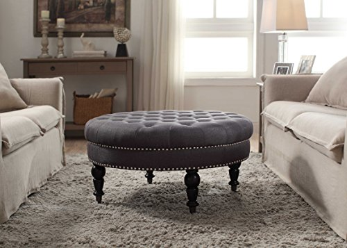 Round Tufted Ottoman in Charcoal Finish