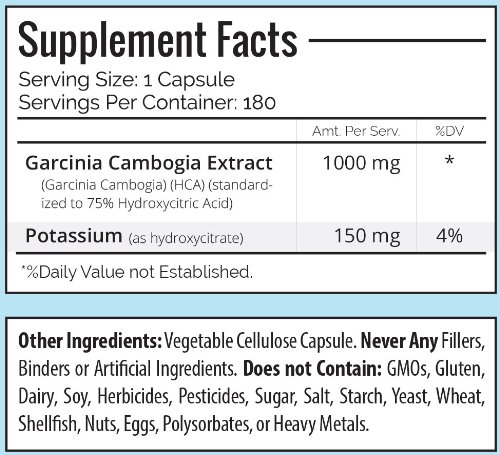 Trusted Nutrients 75% HCA Garcinia Cambogia Extract 180 Count: No Calcium, Non GMO, 1000mg Per Cap, Appetite Supperssant, Fat Burner, #1 Weight Loss Suppment