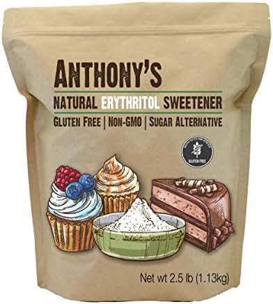 Anthony's Erythritol Granules, 2.5lbs, Non GMO, Natural Sweetener, Keto & Paleo Friendly