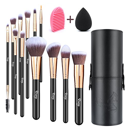 (Qivange Makeup Brushes, Flat Foundation Blush Eyeliner Eyeshadow Brushes with Holder+Makeup Sponge & Brush Cleaner, Professional Makeup Brush Set(12 pcs, Black with Rose Gold))