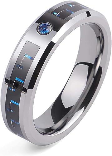 8 mm centro de anillo de tungsteno Pulido Azul 925 Plata Anillo De Bodas Anillo para hombre