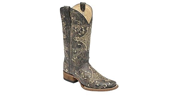 de52e9be4bf CORRAL Women's Scroll Embroidery Square Toe Western Boots