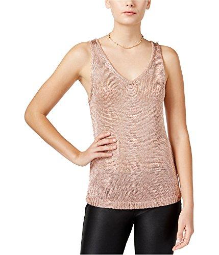 (Bar III Metallic Rayon V-Neck Sleeveless Tank Top Rose Gold Pink XXL)
