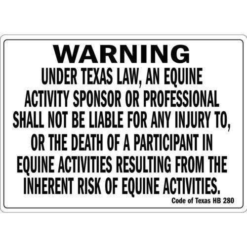 Warning Under Texas Law An Equine Activity Osha Metal Aluminum Sign 10 inch x 14 inch custom Home Outdoor garadge Cave decor