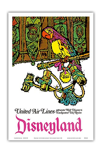 Pacifica Island Art Disneyland - Walt Disney's Enchanted Tiki Room - José the Mexican Macaw - United Air Lines - Vintage Airline Travel Poster by Jebavy c.1968 - Master Art ()
