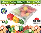 Shalimar Vegetable Organiser Reusable Fridge Bags / Net Bags,( Pack Of 6 Bags )