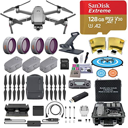DJI Mavic 2 Zoom Drone Quadcopter, Fly More Combo, with 3 Batteries, PGY ND Filters and Pad Holder, 128GB Extreme Micro SD, Landing Pad, Signal Booster, Extra Hard Carrying Case, 1-YR Limited WTY