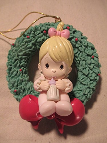Precious Moments Ornament Home For the Holidays - Baby Girl Sitting In Wreath Drinking Bottle