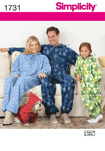 Simplicity 1731 Dogs, Child's, Teen's and Adults' Fleece Pajama Onesie Sewing Patterns, Youth Sizes XS-L and Adult Sizes XS-XL