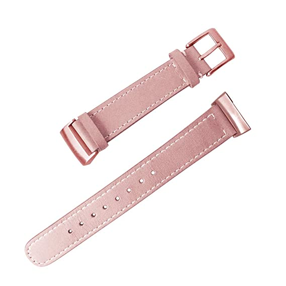 GOSETH Compatible with Fitbit Charge 3 Bands, 20mm Genuine Leather  Replacement Band Buckle Strap Compatible Fitbit Charge 3 SmartWatch  (Leather-Pink)