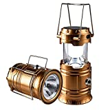 Solar Rechargeable Camping Lantern & Portable Outdoor Handheld Led Flashlight Emergency Lights; Moonkist (Gold)