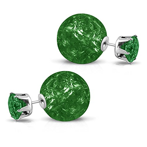 Stainless Steel Double Sided Emerald Green 8 MM CZ & 15 MM Crystal Candy Ball Stud Post Earrings